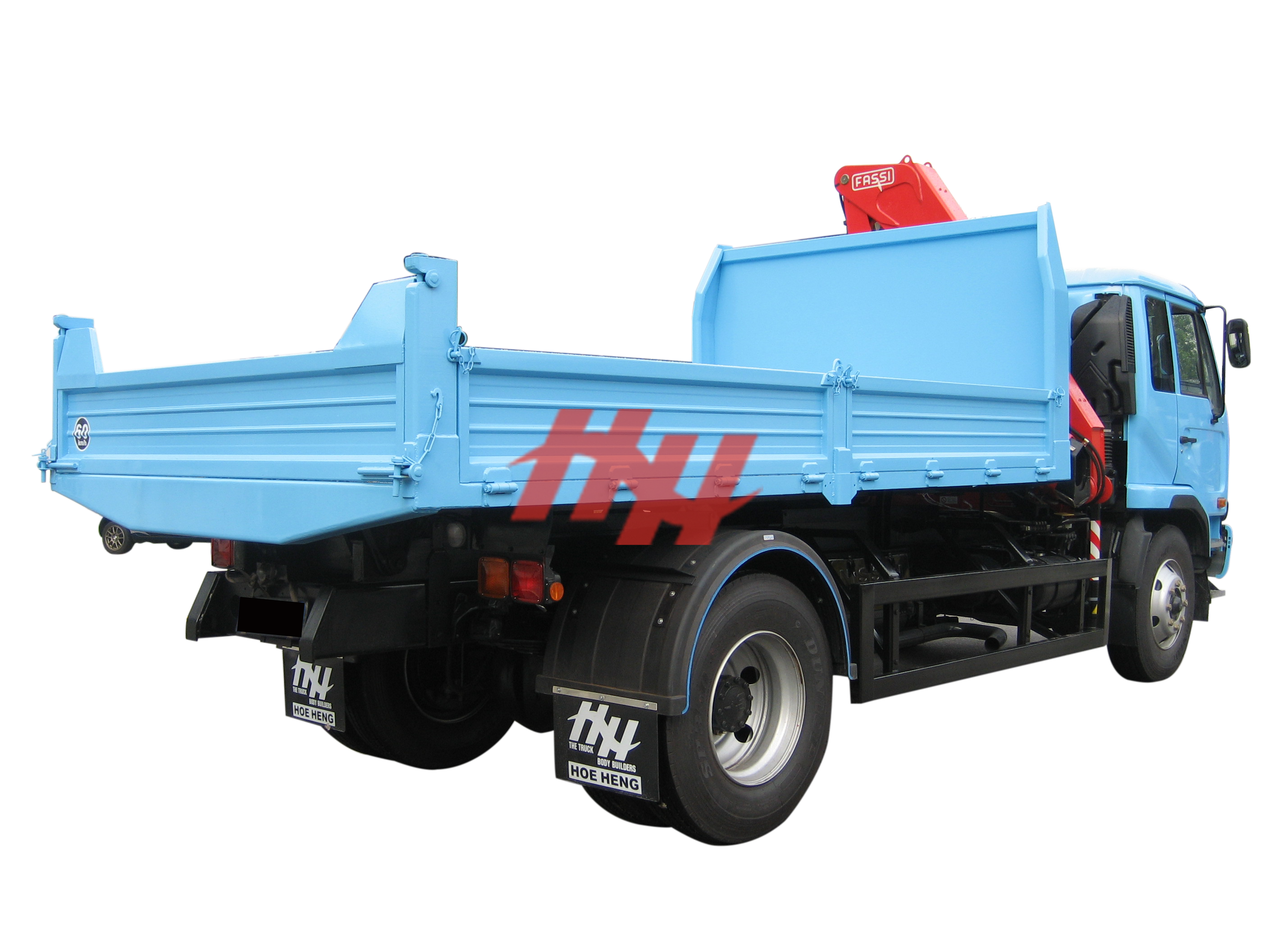 18fts machine weld drop side tipper body  with krm 160 hoist and mounted crane edit