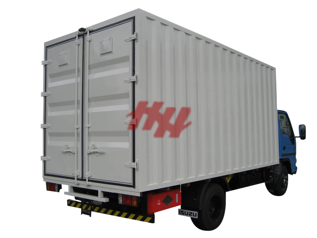 Corrugated cargo box and rear door with container door lock system %28fileminimizer%29