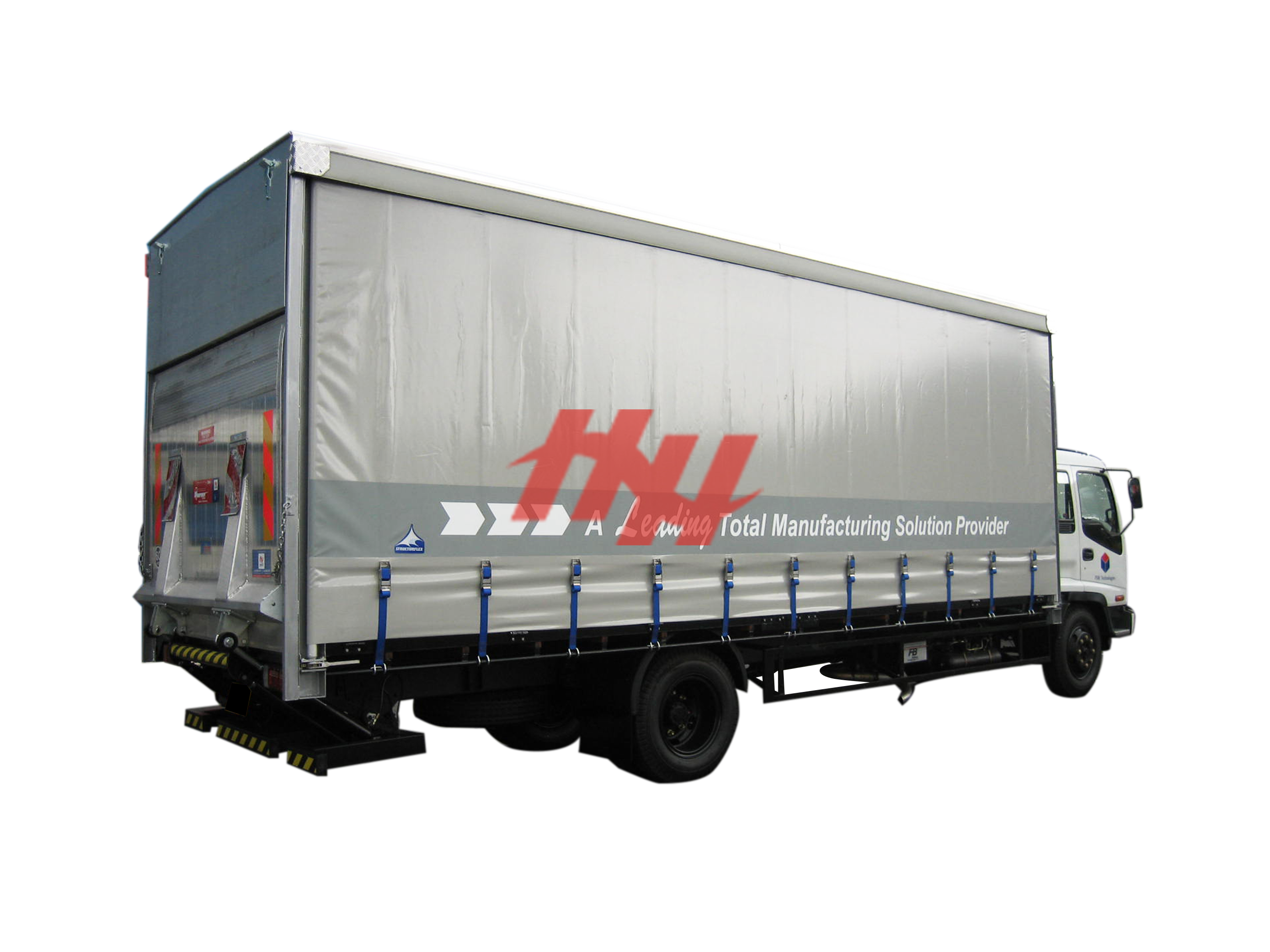 Curtainsider canopy with rear recess tailgate and swing up door edit