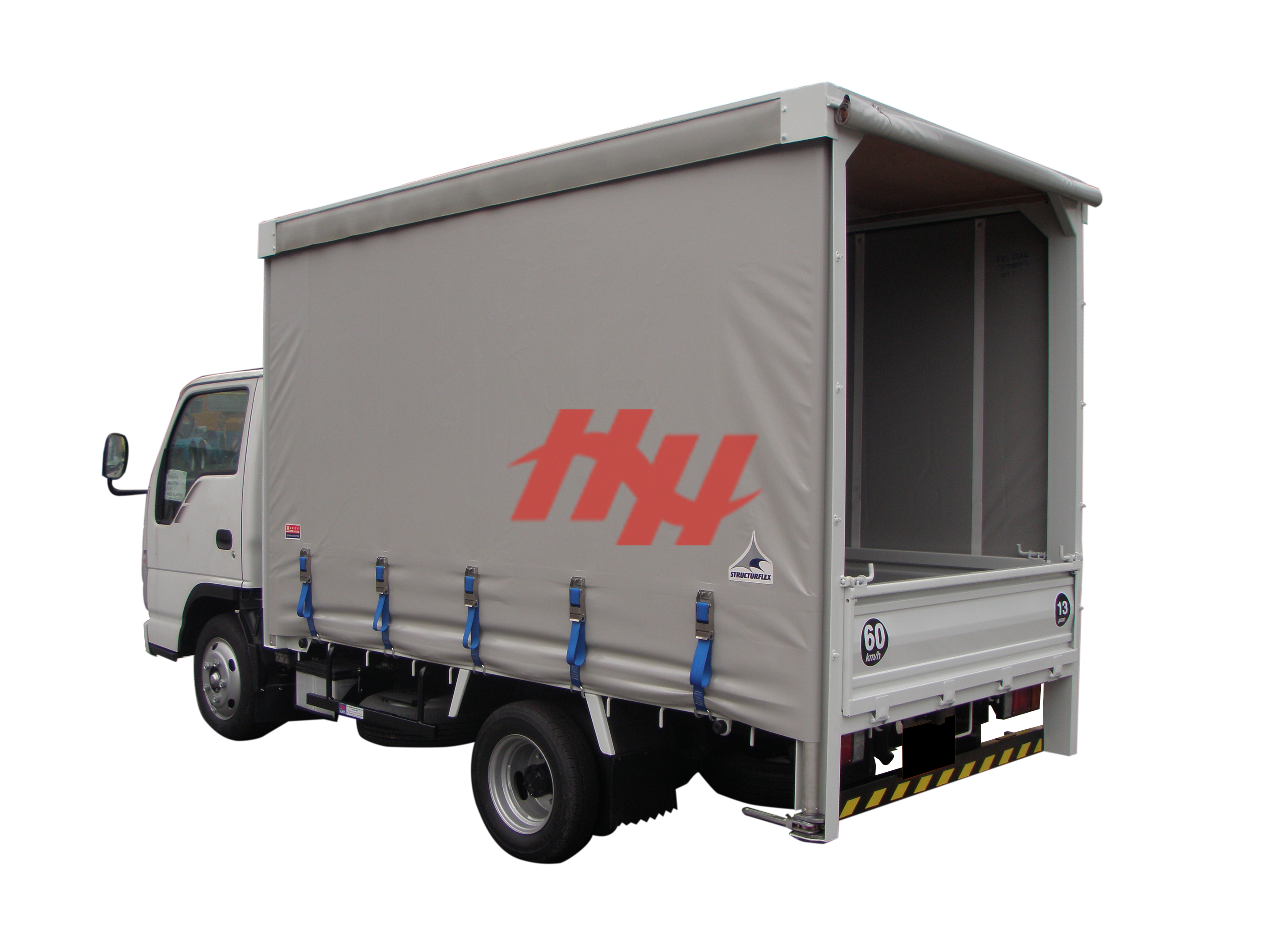 Curtainsider canopy with roll down canvas edit