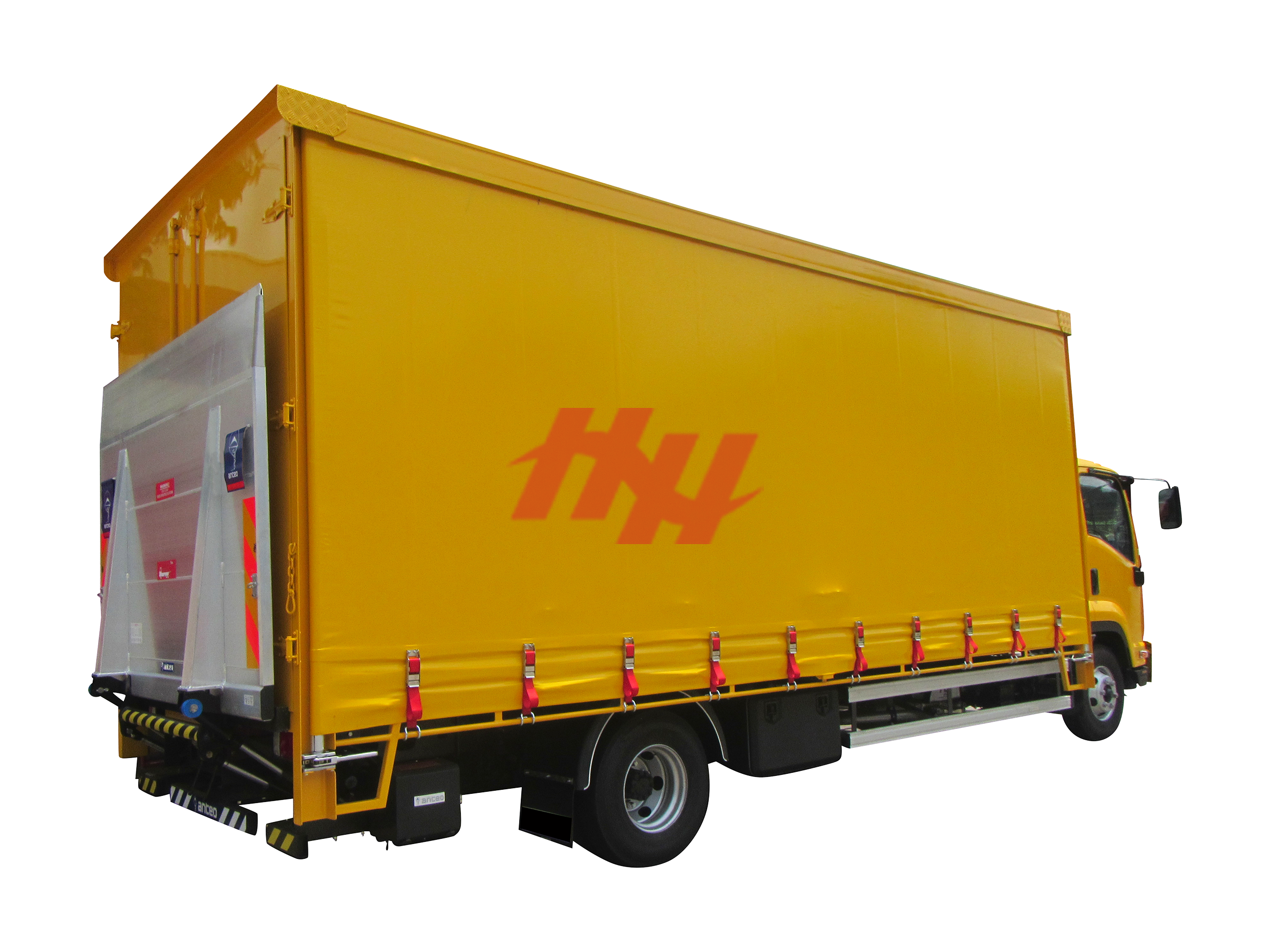Curtainsider container  rear door with container door lock system  side guard  rear bumper and tailgate
