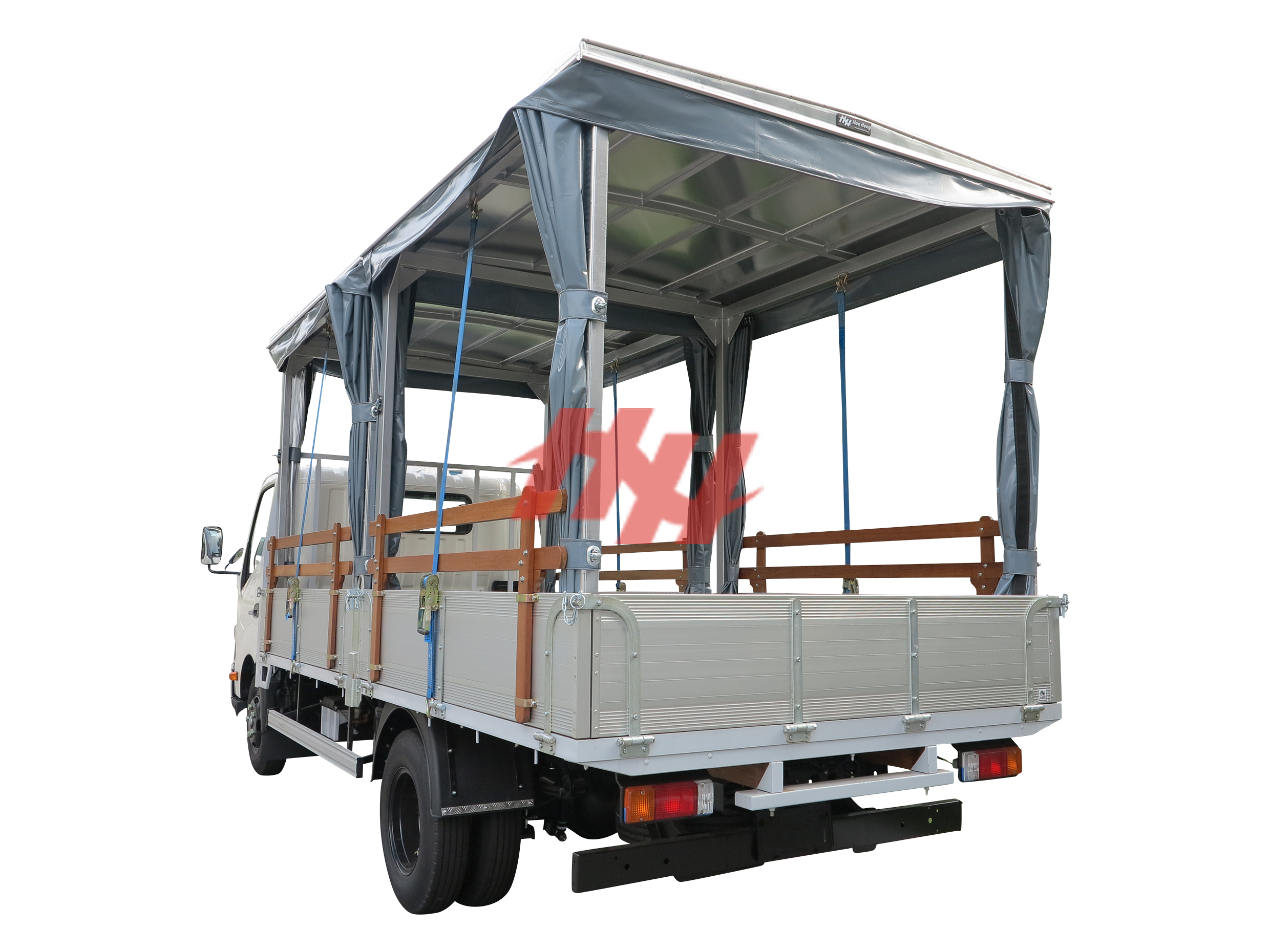 High roof full length canopy on aluminium body with sliding canvas  wooden railing  galvanished hinges and side guard