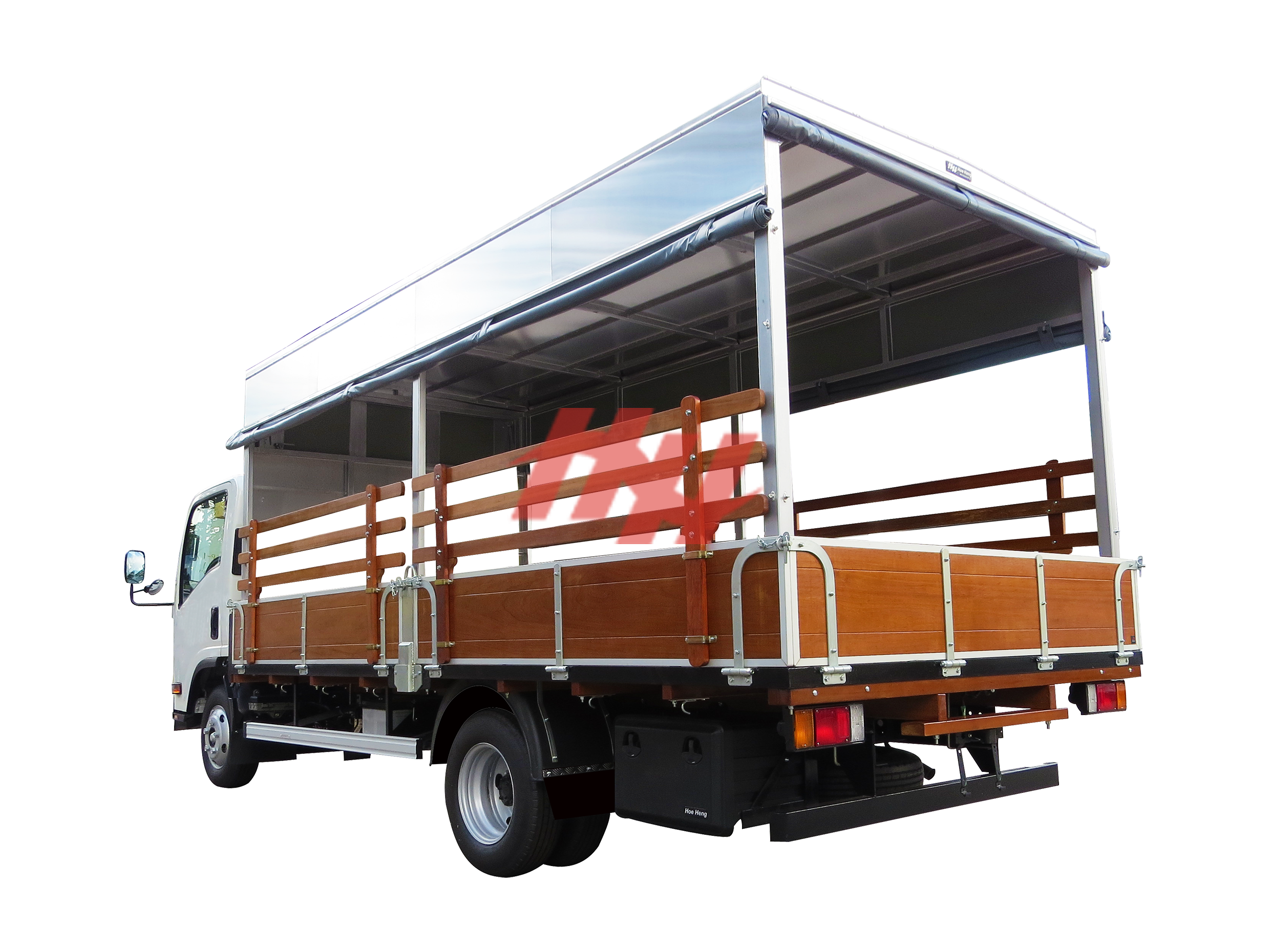 High roof full length canopy on wooden body with roll down side canvas  wooden railing  galvanished hinges and side guard