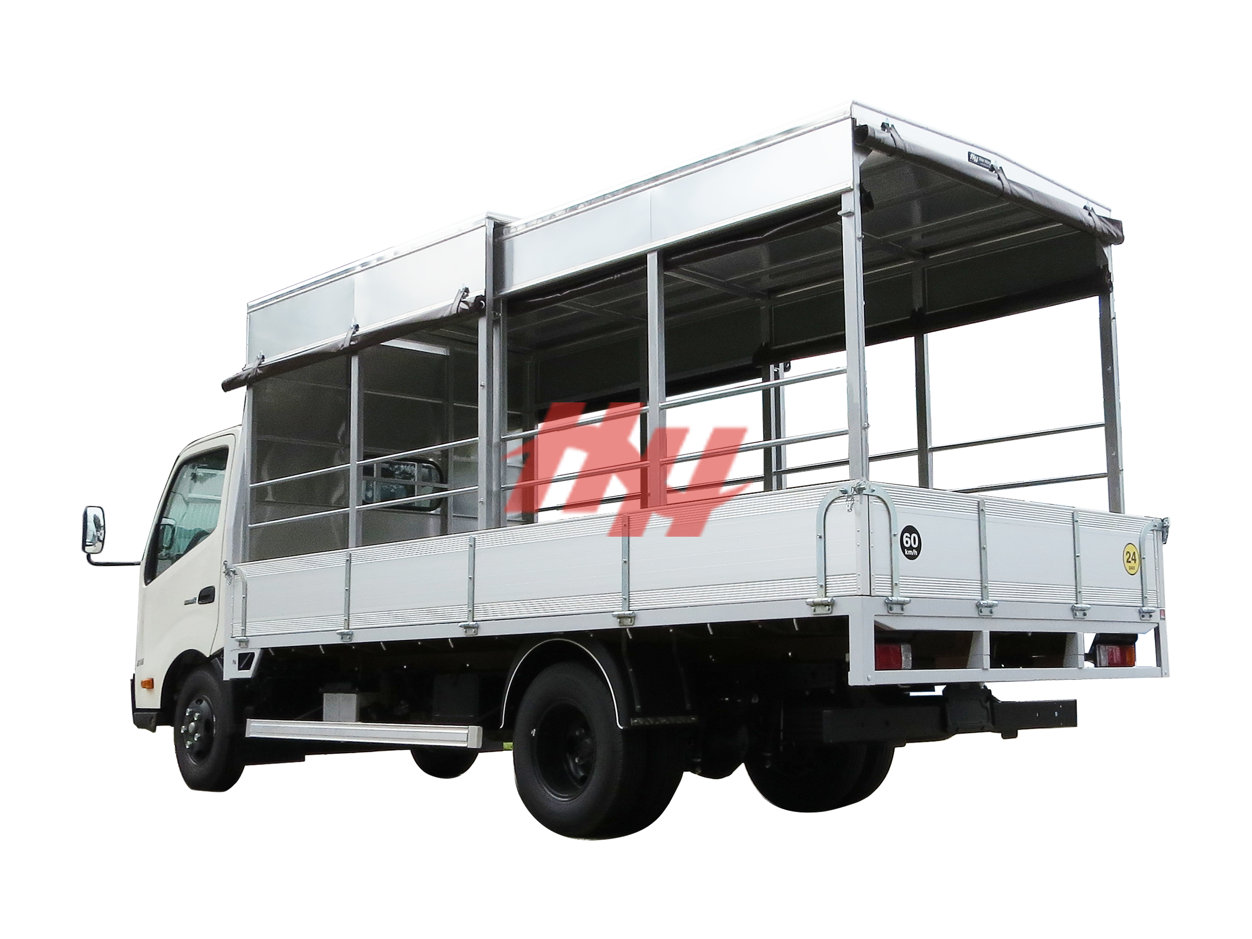 High roof full length retractable canopy on aluminium body with roll down canvas  galvanished hinges and side guard