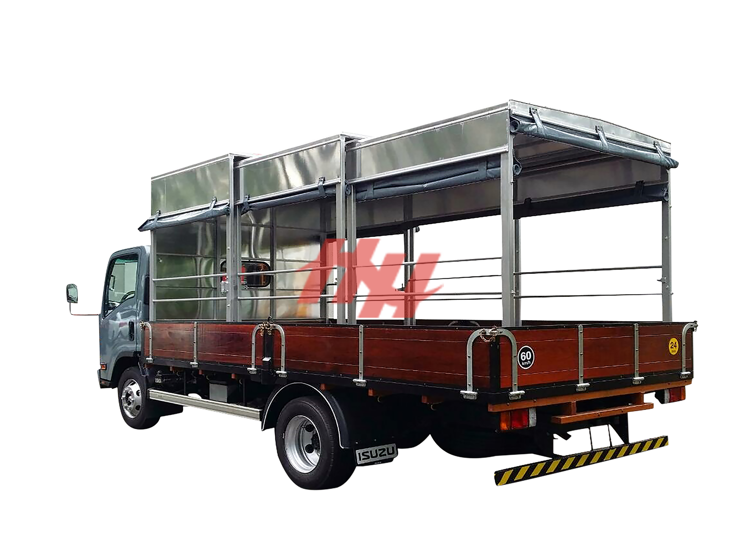 High roof full length triple retractable canopy on wooden body with roll down side canvas  side guard  galvanished hinges and rear bumper