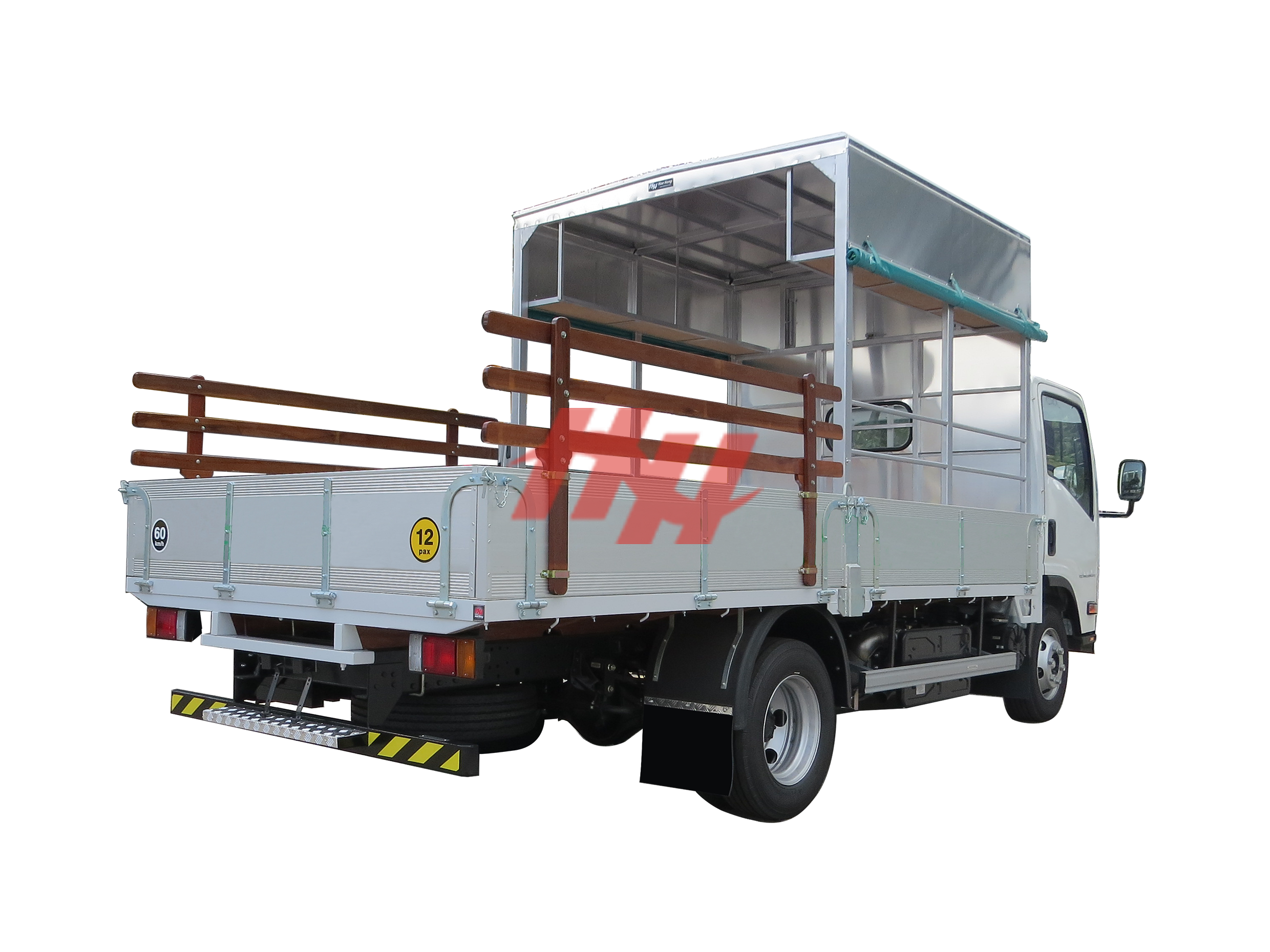 High roof half length canopy on aluminium body with roll down side canvas  wooden railing  galvanished hinges and rear bumper