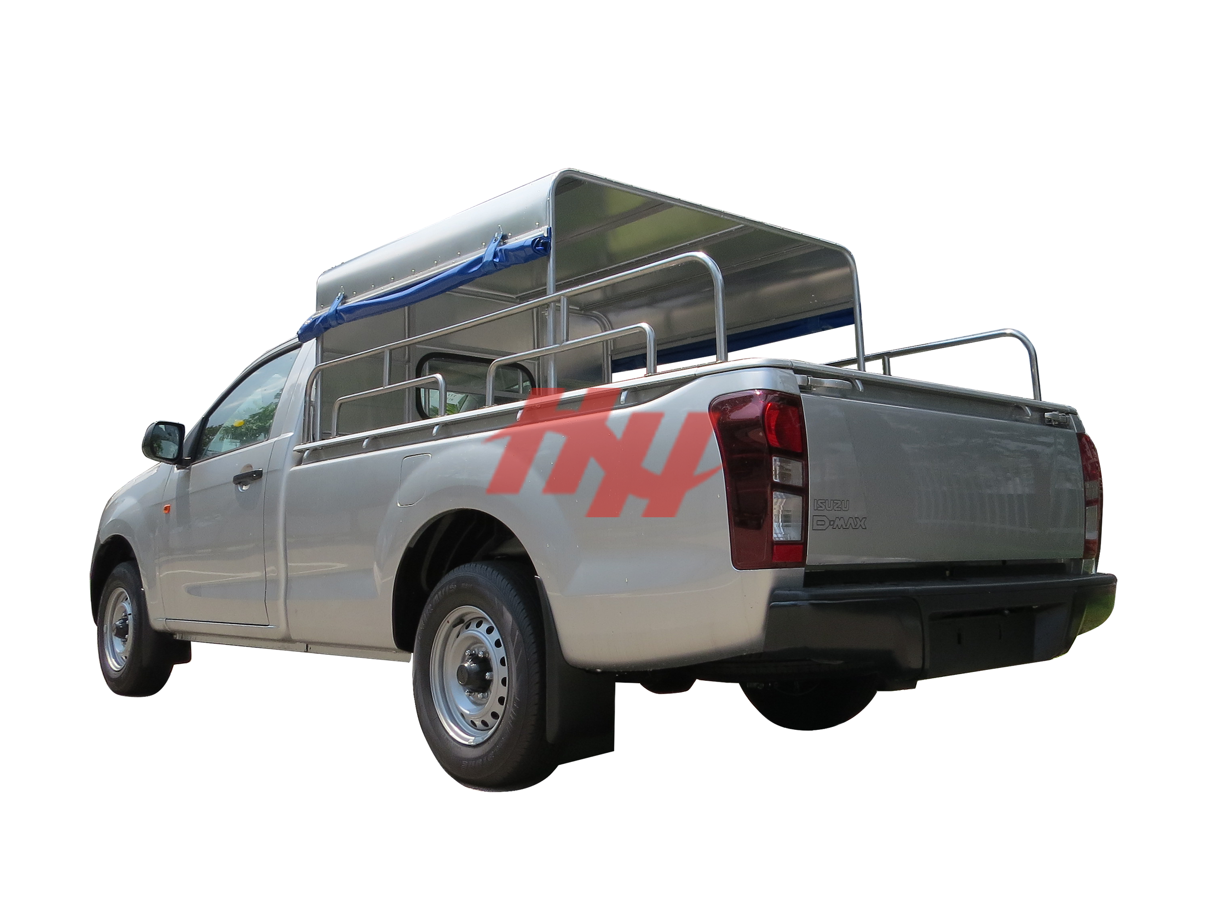 Single cab pickup truck with half length canopy with roll down canvas