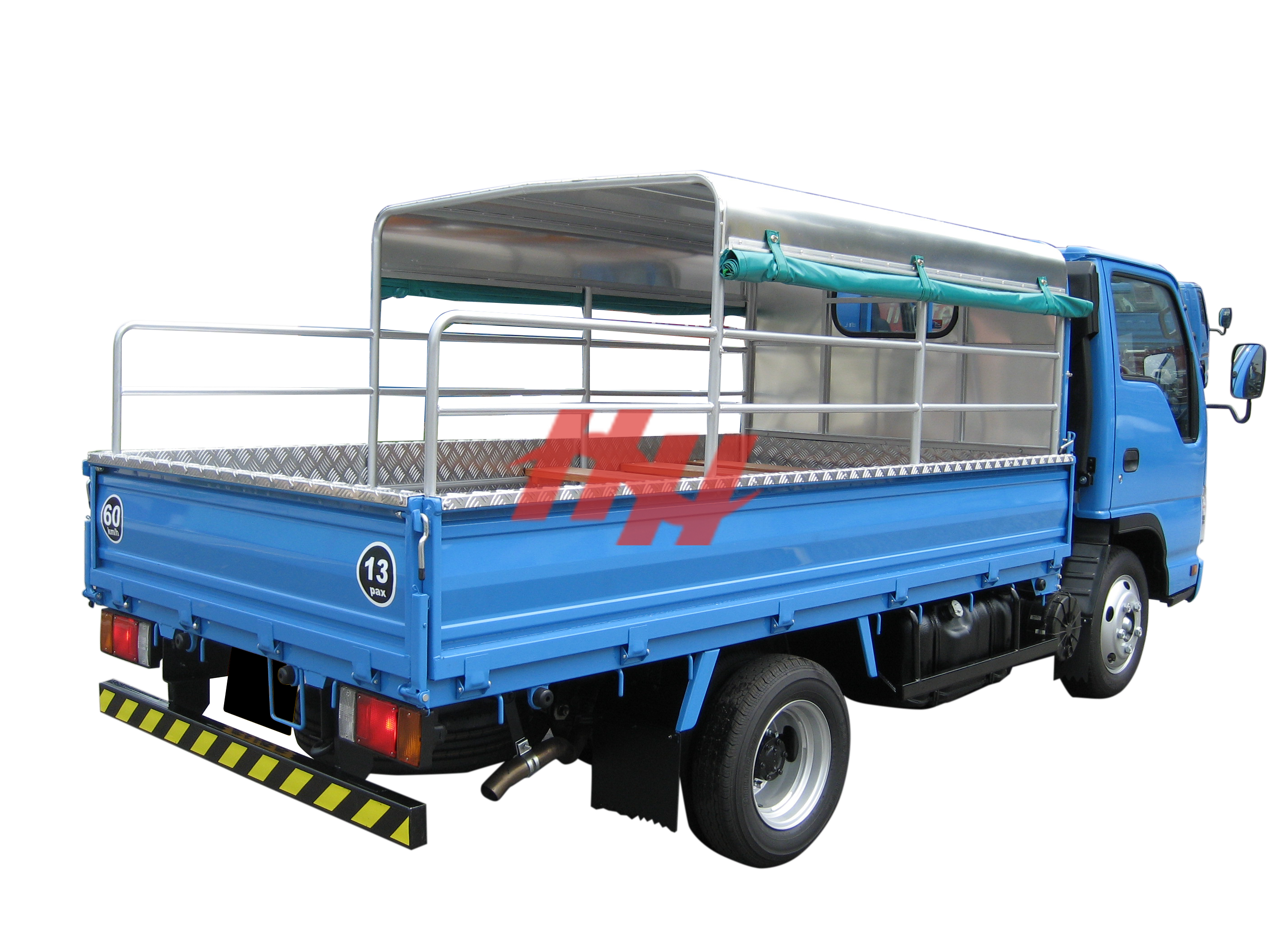Standard body   three quater cabin height canopy with roll down canvas  stainless steel railing and seating planks edit