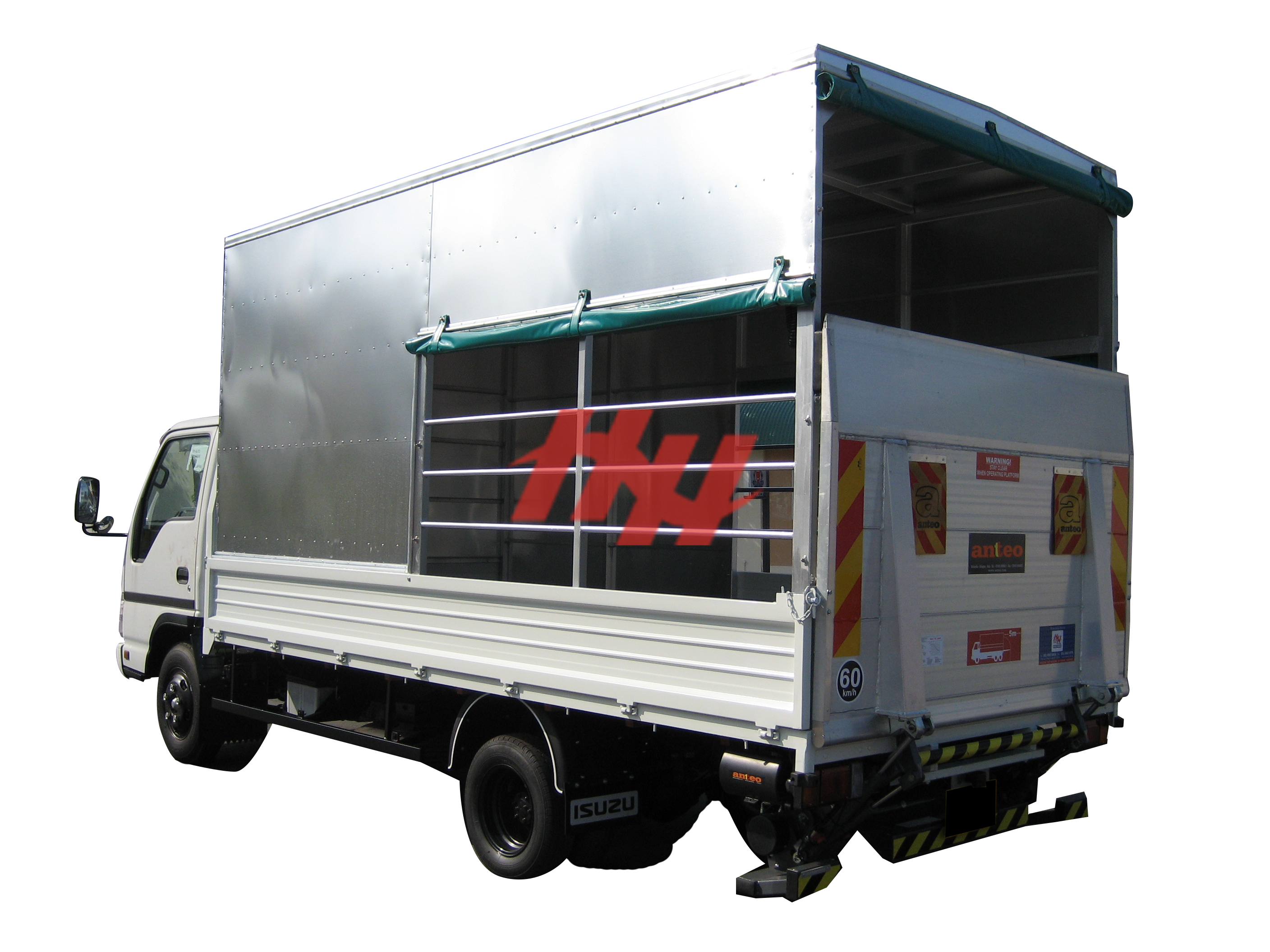 Steel body  full length canopy with roll down canvas  side pannel  steel railing and tailgates edit
