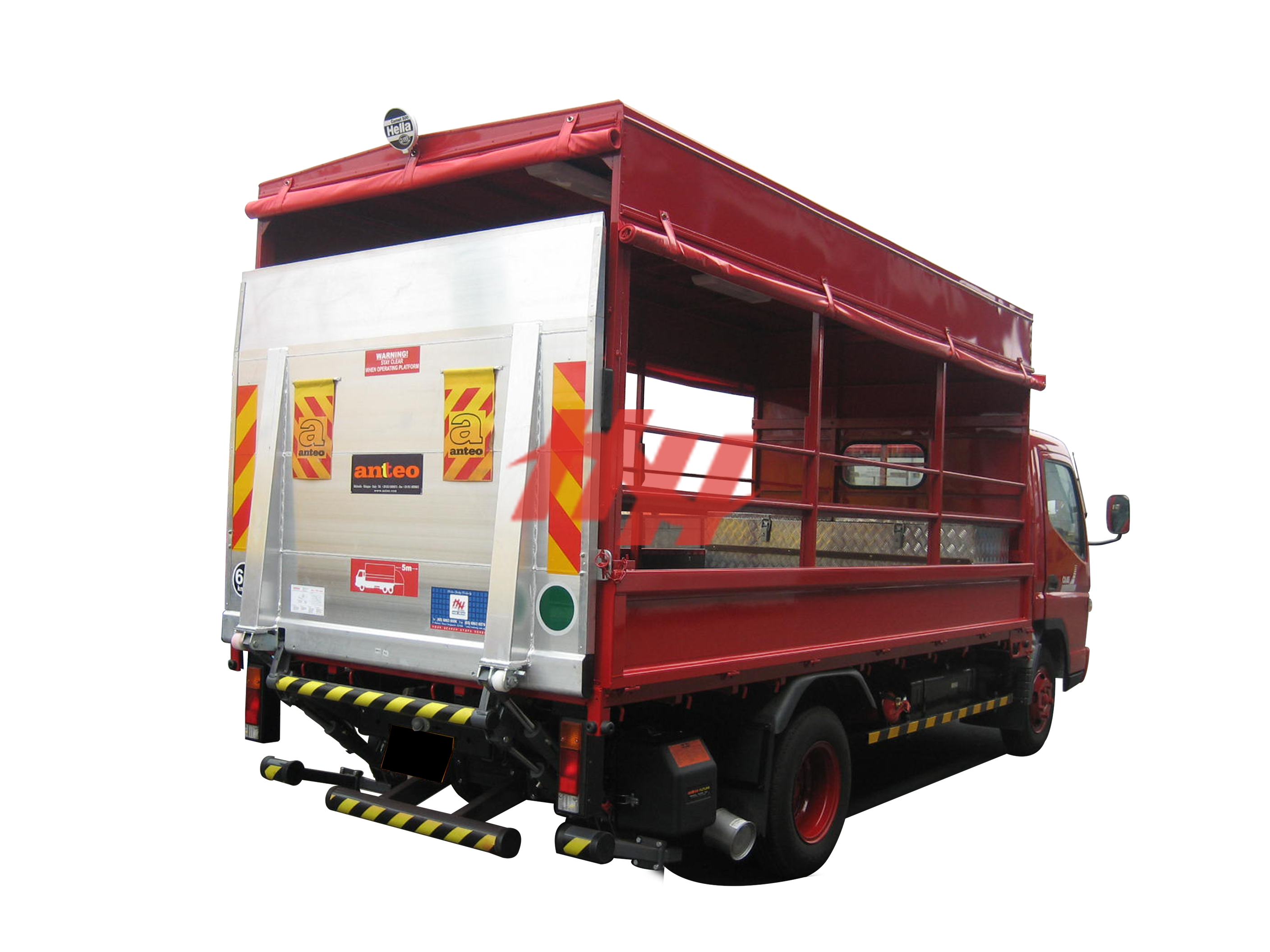 Steel body  high roof full length canopy with roll down canvas  side pannel  steel railing and tailgates edit