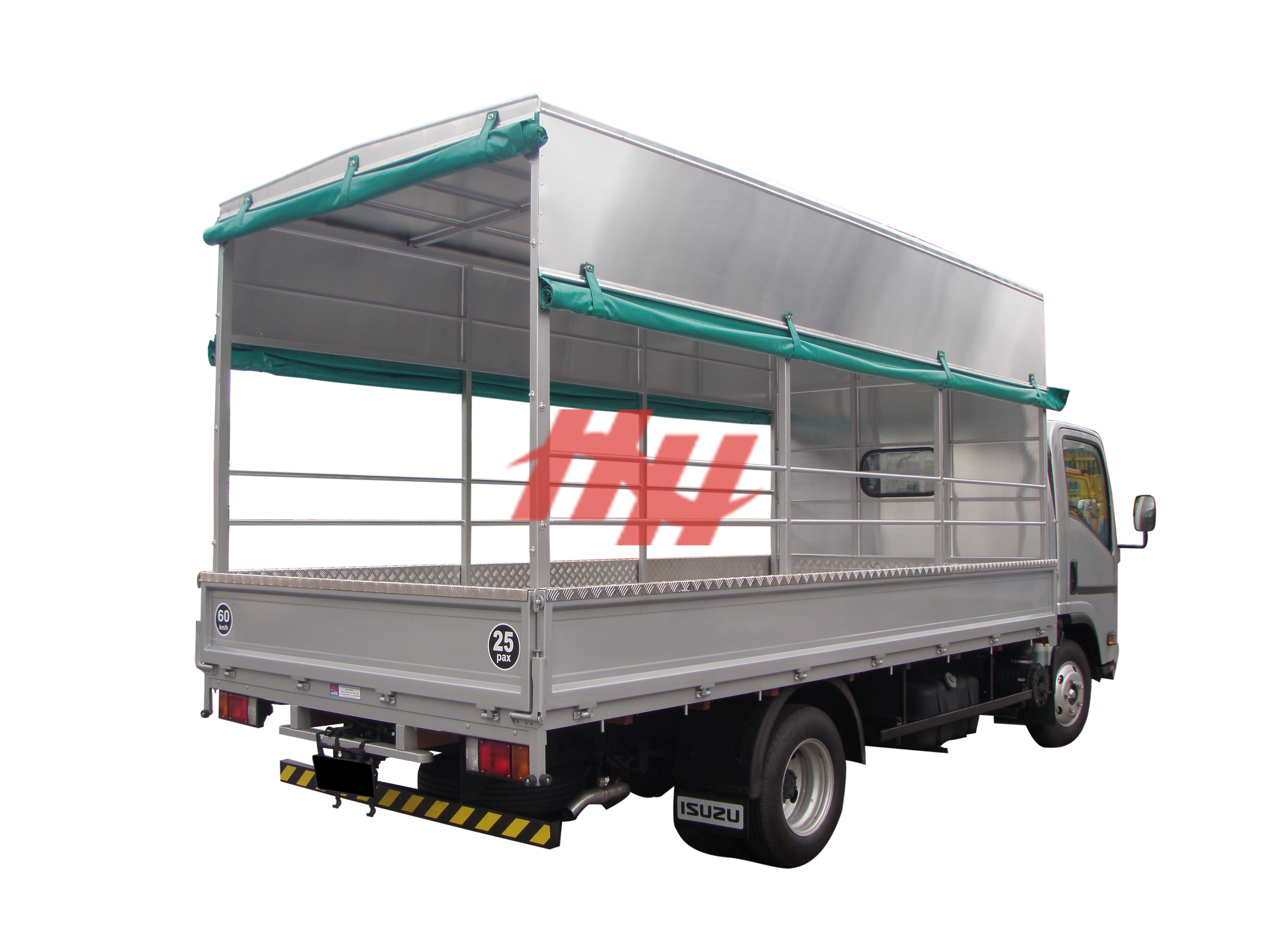Steel body  high roof full length canopy with roll down canvas  side pannel and steel railing edit