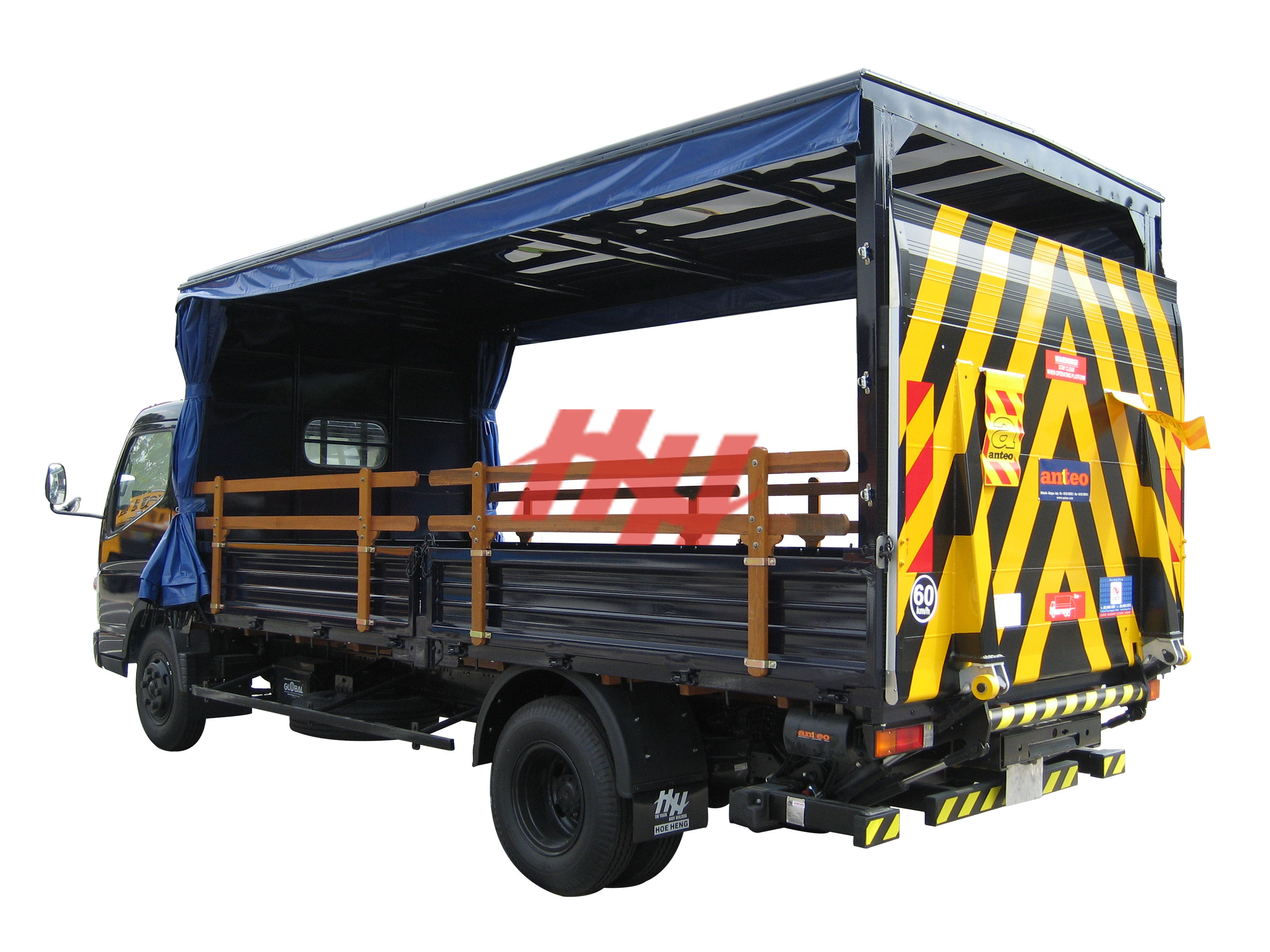 Steel body  high roof full length canopy with sliding canvas  wooden railing and tailgates edit