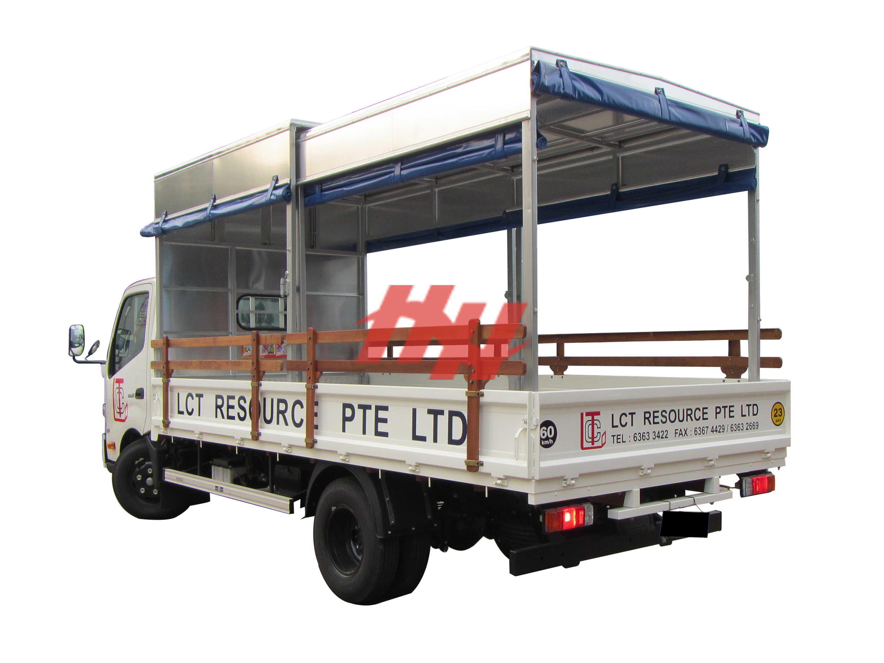 Steel body  high roof retractable canopy with roll down canvas and side pannel edit