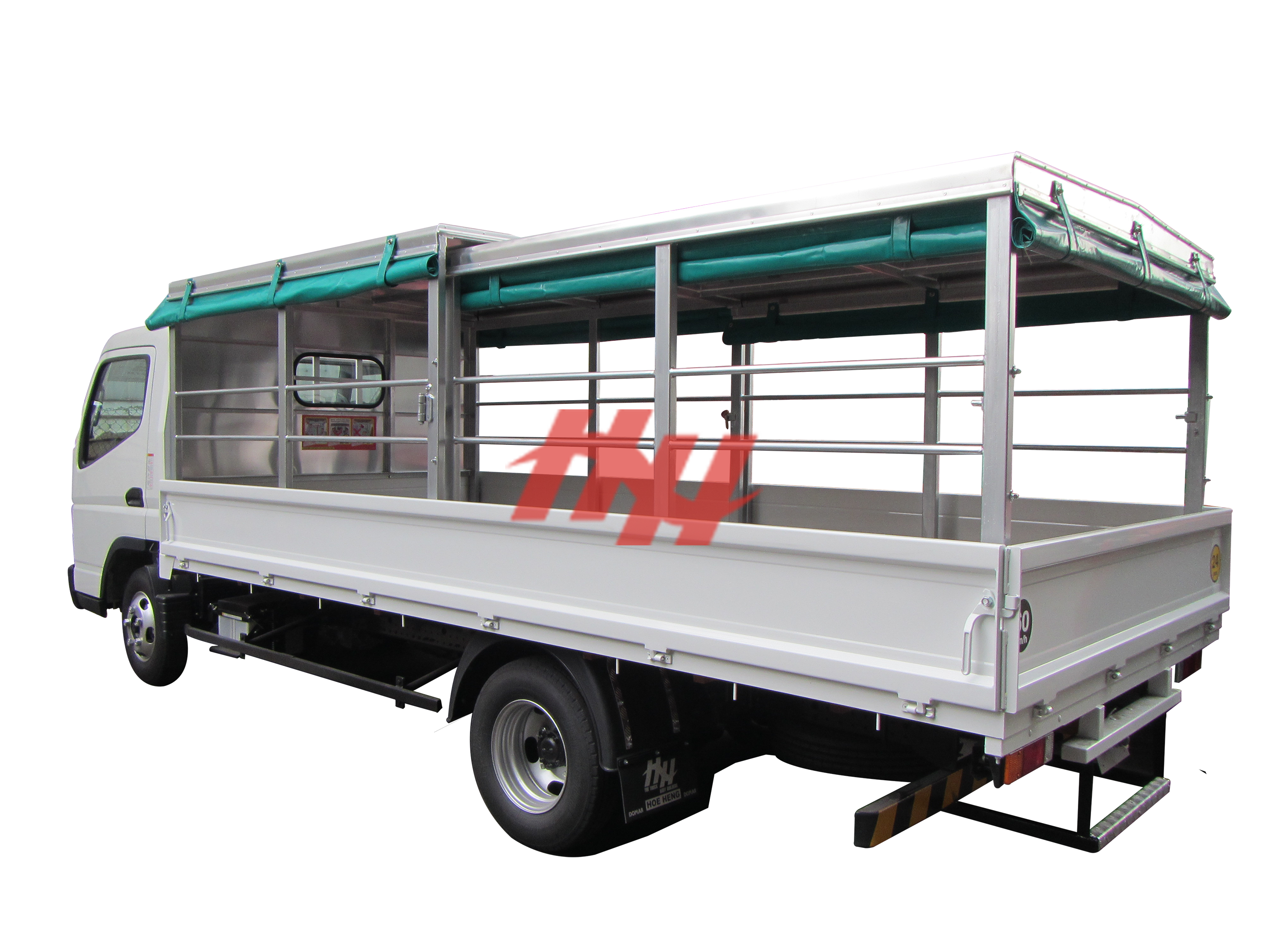 Steel body  retractable canopy with roll down canvas and steel railing edit